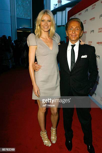 Actress Gwyneth Paltrow and designer Valentino attend the Los Angeles premiere of Valentino The Last Emperor at the Bing Theatre at LACMA on April 1...