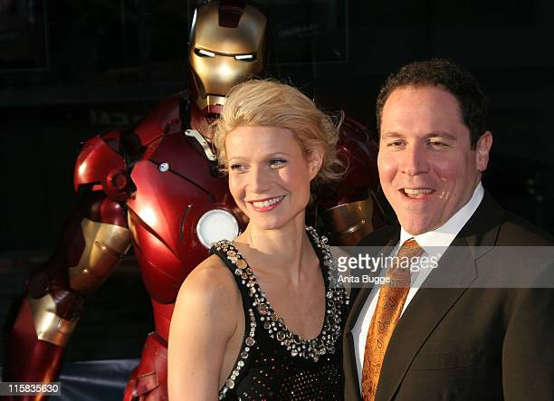 Actress Gwyneth Paltrow and director Jon Favreau attend the premiere for the movie 'Iron Man' at the Cinemaxx on April 22 2008 in Berlin Germany