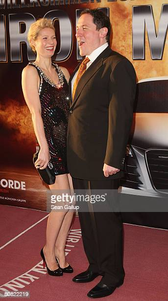 Actress Gwyneth Paltrow and director Jon Favreau attend the premiere for the movie Iron Man at the Cinemaxx on April 22 2008 in Berlin Germany