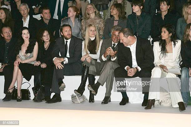 Actress Gwyneth Paltrow and Head of Miramax Harvey Weinstein attend the Stella McCartney fashion show as part of Paris Fashion Week Spring/Summer...