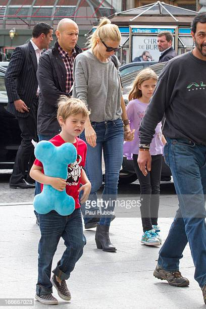 Actress Gwyneth Paltrow and her Children Moses and Apple are seen arriving at the 'Gare du Nord' station on April 15, 2013 in Paris, France.