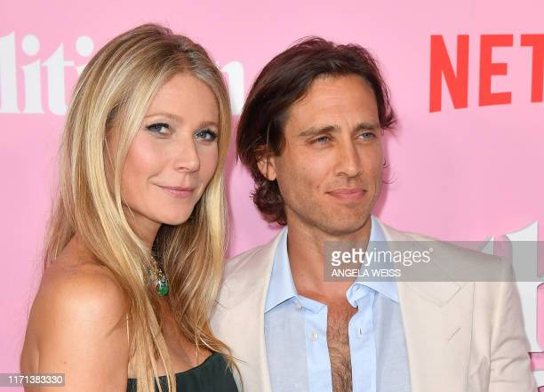 US actress Gwyneth Paltrow and her husband writer/producer Brad Falchuk arrive for the Netflix premiere of The Politician at the DGA theatre in New...