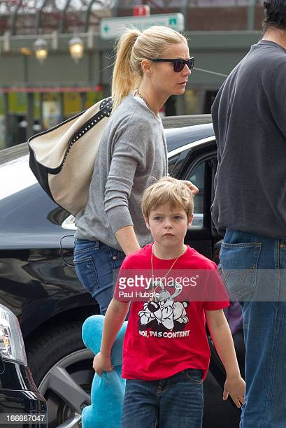 Actress Gwyneth Paltrow and her son Moses Martin are seen arriving at the 'Gare du Nord' station on April 15 2013 in Paris France