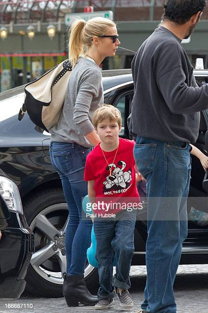 Actress Gwyneth Paltrow and her son Moses Martin are seen arriving at the 'Gare du Nord' station on April 15 2013 in Paris France 2