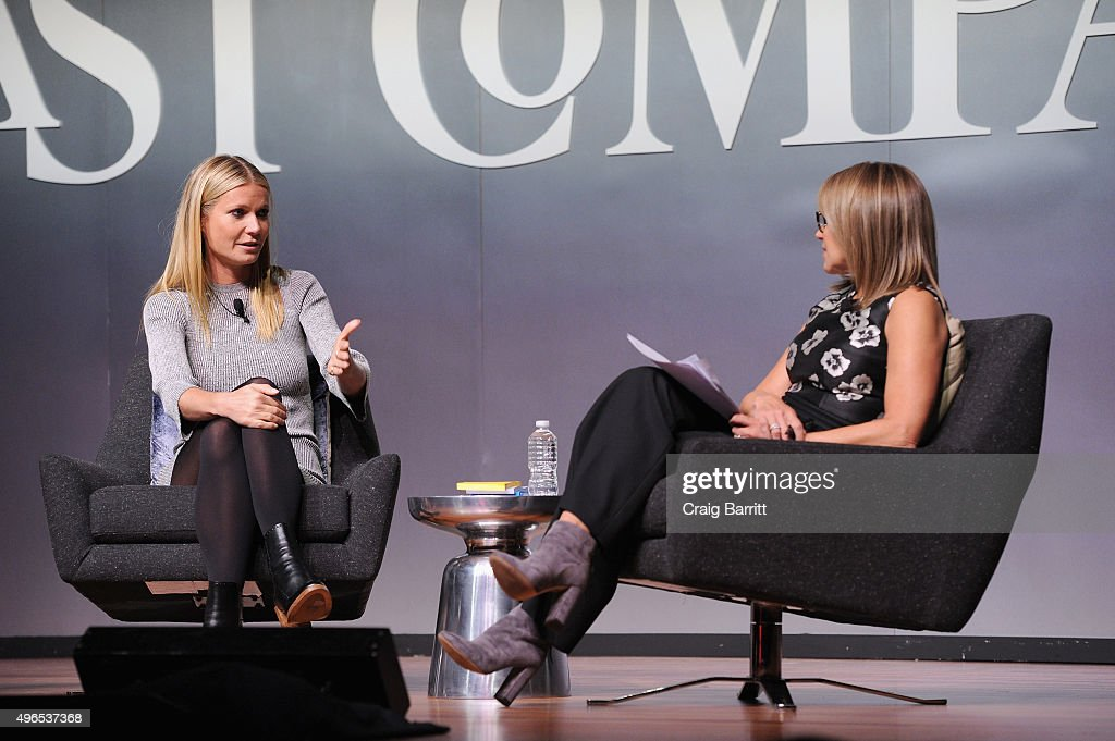 Actress Gwyneth Paltrow (L) and journalist Katie Couric speak during 'The Business Of Goop With Gwyneth Paltrow And Lisa Gersh, CEO Of Goop, Moderated By Yahoo's Katie Couric' at The Fast Company Innovation Festival on November 10, 2015 in New York City.