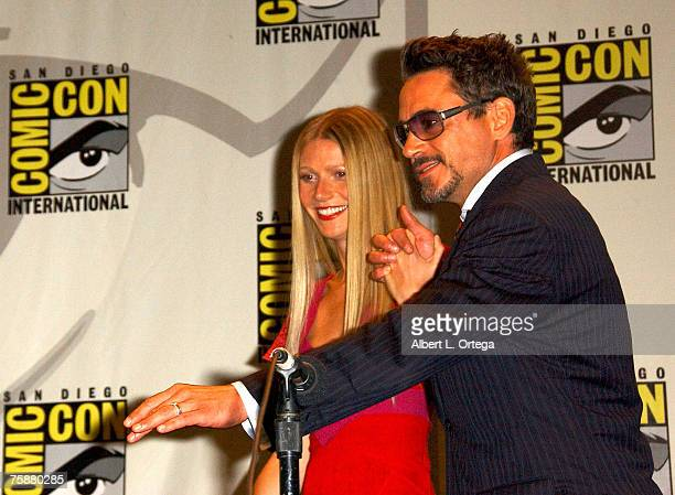 """Actress Gwyneth Paltrow and Robert Downey Jr. Of """"Iron Man"""" attends the 2007 Comic-Con International on July 27, 2007 at the San Diego Convention..."""