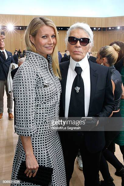 Actress Gwyneth Paltrow and Stylist Karl Lagerfeld attend the Chanel Spring Summer 2016 show as part of Paris Fashion Week on January 26 2016 in...