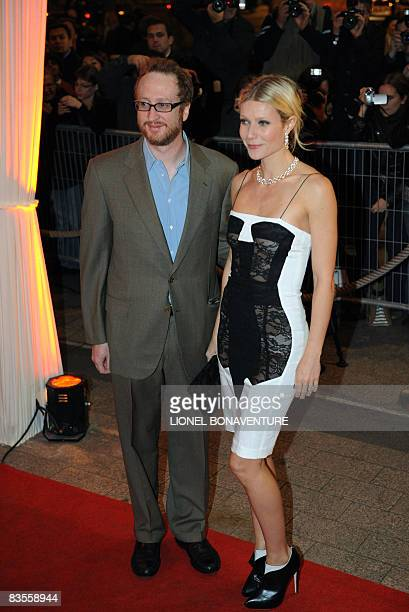Actress Gwyneth Paltrow and US director James Gray arrive on November 4, 2008 at the Publicis cinema in Paris to attend the premiere of Gray's last...