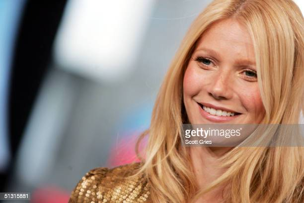 Actress Gwyneth Paltrow appears on stage during MTV's Total Request Live at the MTV Times Square Studios September 16, 2004 in New York City.