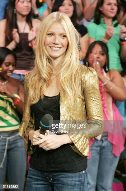 Actress Gwyneth Paltrow appears on stage during MTV's Total Request Live at the MTV Times Square Studios September 16 2004 in New York City