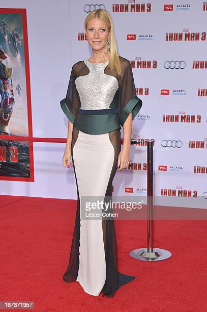Actress Gwyneth Paltrow arrives at the Iron Man 3 Los Angeles Premiere at El Capitan Theatre on April 24 2013 in Hollywood California