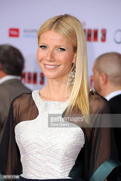 Actress Gwyneth Paltrow arrives at the Iron Man 3 Los Angeles premiere at the El Capitan Theatre on April 24 2013 in Hollywood California