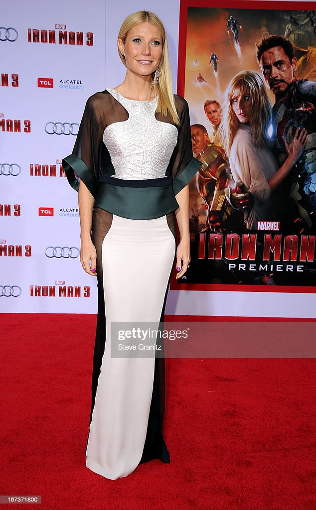 Actress Gwyneth Paltrow arrives at the 'Iron Man 3' Los Angeles premiere at the El Capitan Theatre on April 24, 2013 in Hollywood, California.