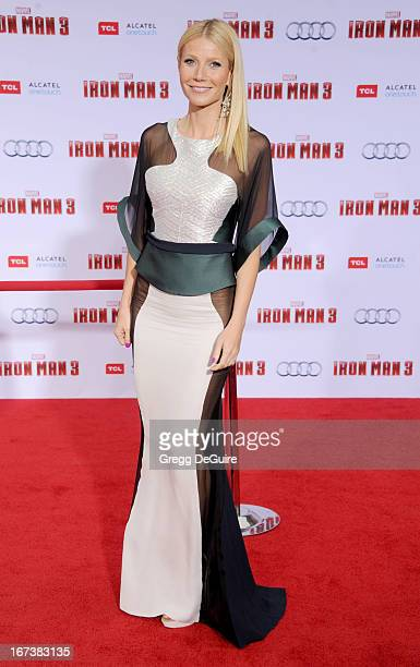 Actress Gwyneth Paltrow arrives at the Los Angeles premiere of Iron Man 3 at the El Capitan Theatre on April 24 2013 in Hollywood California