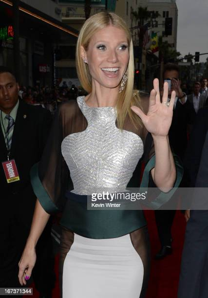 Actress Gwyneth Paltrow arrives at the premiere of Walt Disney Pictures' Iron Man 3 at the El Capitan Theatre on April 24 2013 in Hollywood California