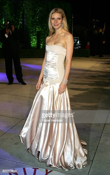 Actress Gwyneth Paltrow arrives at the Vanity Fair Oscar Party at Mortons on February 27 2005 in West Hollywood California
