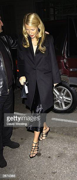 Actress Gwyneth Paltrow attends Kate Moss' 30th birthday party at the home of Agent Provocateur owner Serena Rees on January 16 2004 in London The...