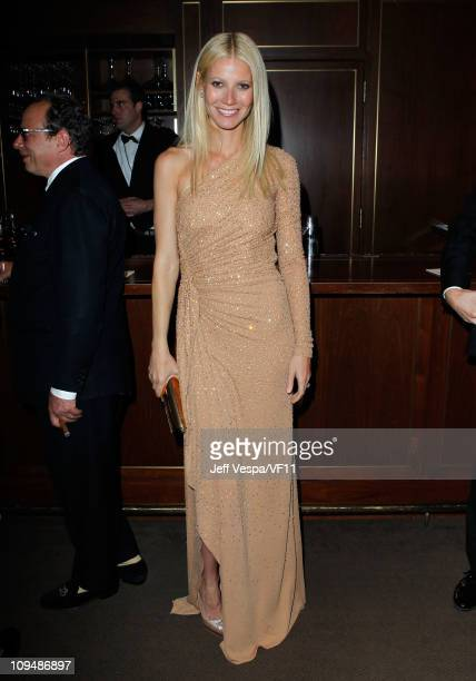 Actress Gwyneth Paltrow attends the 2011 Vanity Fair Oscar Party Hosted by Graydon Carter at the Sunset Tower Hotel on February 27 2011 in West...