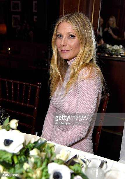 Actress Gwyneth Paltrow attends The Hollywood Reporter and Jimmy Choo's Power Stylists Dinner at Sunset Tower on March 15 2016 in Los Angeles...