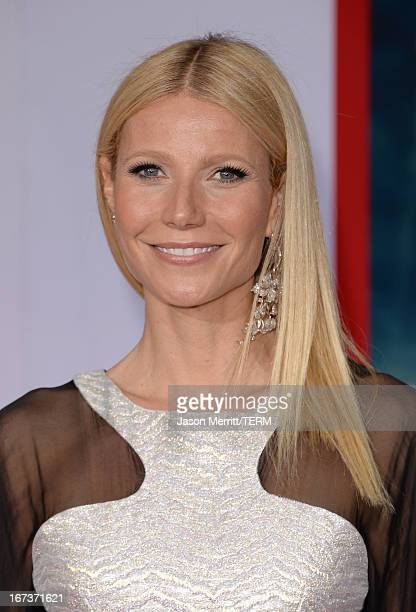 Actress Gwyneth Paltrow attends the premiere of Walt Disney Pictures' Iron Man 3 at the El Capitan Theatre on April 24 2013 in Hollywood California