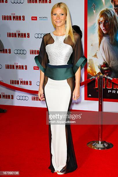 Actress Gwyneth Paltrow attends the premiere of Walt Disney Pictures' 'Iron Man 3' at the El Capitan Theatre on April 24 2013 in Hollywood California