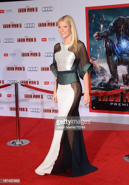 Actress Gwyneth Paltrow attends the premiere of Walt Disney Pictures' 'Iron Man 3' at the El Capitan Theatre on April 24, 2013 in Hollywood,...