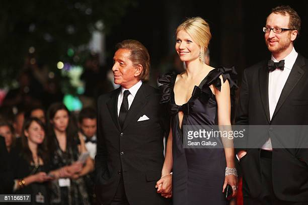 Actress Gwyneth Paltrow designer Valentino Garavani and director James Gray attend the 'Two Lovers' Premiere at the Palais des Festivals during the...