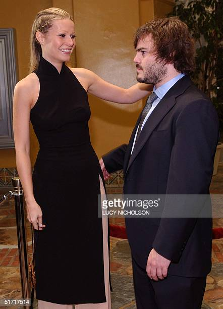 """Actress Gwyneth Paltrow greets co-star Jack Black as they arrive at the premiere of their film """"Shallow Hal,"""" directed by the Farrelly Brothers, in..."""