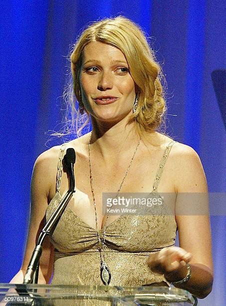 "Actress Gwyneth Paltrow is honoured onstage at the 2004 Crystal & Lucy Awards - ""A Family Affair: Women in film celebrates The Paltrow Family"" at the..."