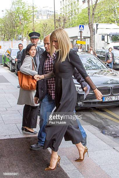 Actress Gwyneth Paltrow is seen arriving at the 'Four Seasons George V' hotel on April 15 2013 in Paris France