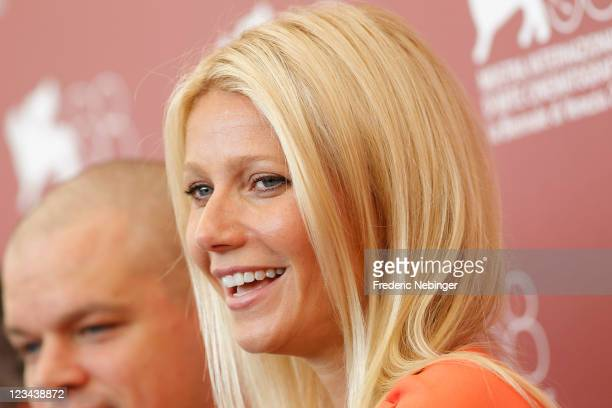 """Actress Gwyneth Paltrow poses at the """"Contagion"""" photocall during the 68th Venice Film Festival at the Palazzo del Cinema on September 3, 2011 in..."""
