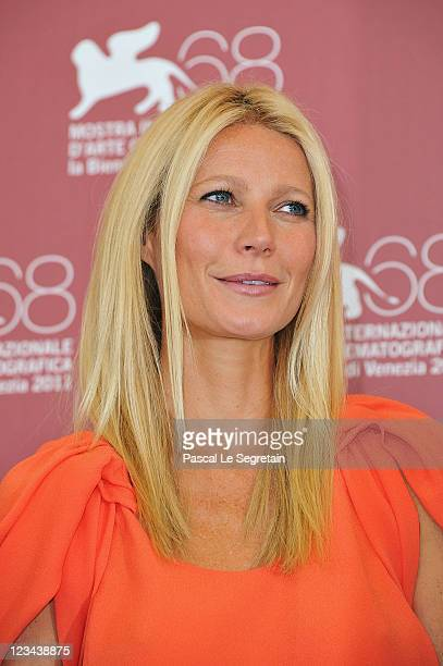 Actress Gwyneth Paltrow poses at the Contagion photocall during the 68th Venice Film Festival at the Palazzo del Cinema on September 3 2011 in Venice...