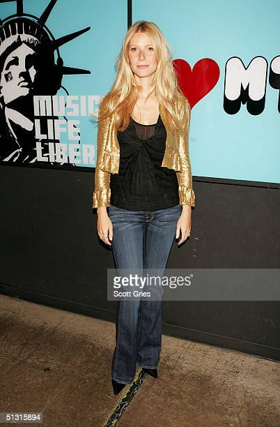 Actress Gwyneth Paltrow poses for a photo backstage during MTV's Total Request Live at the MTV Times Square Studios September 16, 2004 in New York...