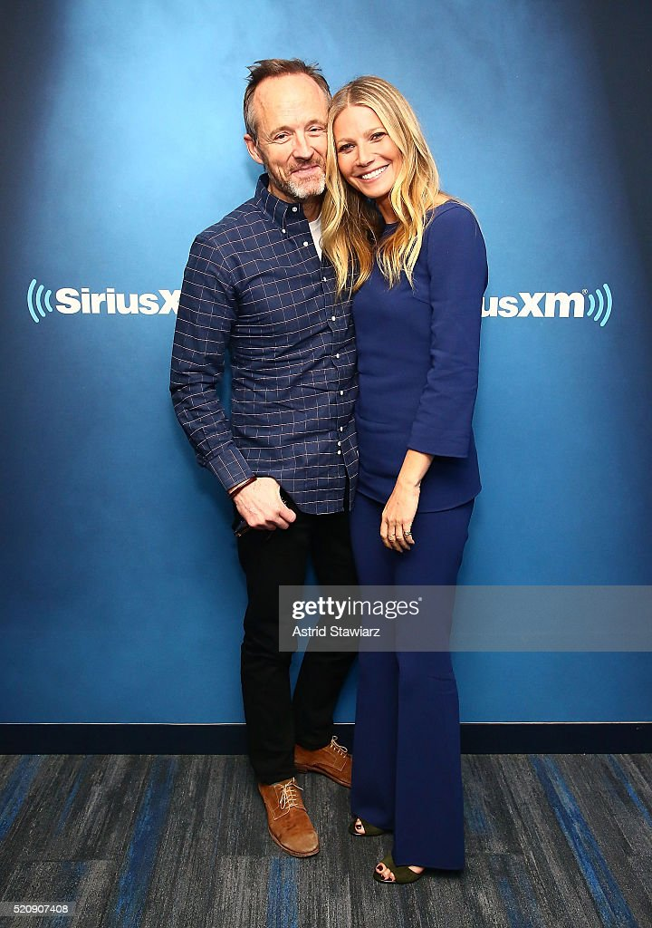 Actress Gwyneth Paltrow poses with actor John Benjamin Hickey during a taping of 'My Favorite Song with John Benjamin Hickey' on Radio Andy at the SiriusXM Studios on April 13, 2016 in New York City.
