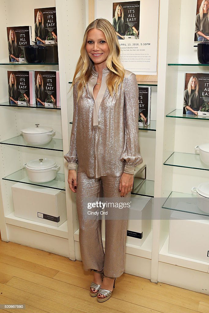 Actress Gwyneth Paltrow signs copies of her book 'It's All Easy' at Williams-Sonoma on April 13, 2016 in New York City.