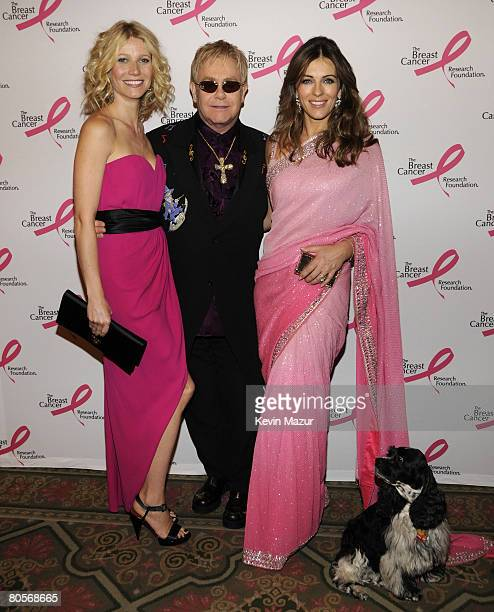 NEW YORK APRIL 08 Actress Gwyneth Paltrow Sir Elton John Actress Elizabeth Hurley and Arthur in the green room at the Waldorf Astoria during The...