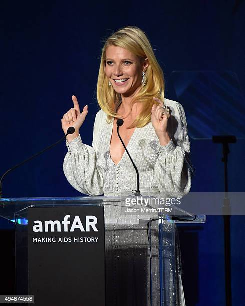 Actress Gwyneth Paltrow speaks onstage during amfAR's Inspiration Gala Los Angeles at Milk Studios on October 29 2015 in Hollywood California