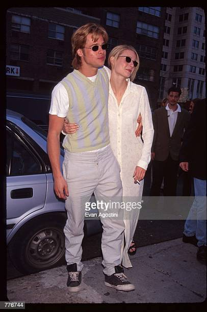 Actress Gwyneth Paltrow stands with her boyfriend Brad Pitt at the premiere of the film The Pallbearer April 28 1996 in New York City The film which...