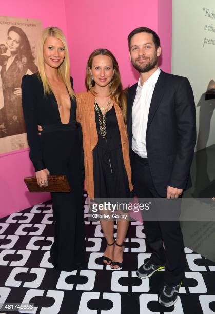 Actress Gwyneth Paltrow wearing Diane Von Furstenberg designer Jennifer Meyer and actor Tobey Maguire attend Diane Von Furstenberg's Journey of A...