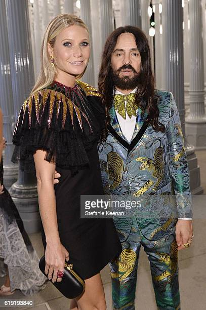 b45d243288c Actress Gwyneth Paltrow wearing Gucci and Gucci Creative Director  Alessandro Michele attend the 2016 LACMA Art