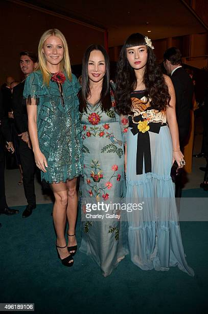 Actress Gwyneth Paltrow wearing Gucci Art Film Gala cochair and LACMA Trustee Eva Chow wearing Gucci and musician Asia Chow wearing Gucci attend...
