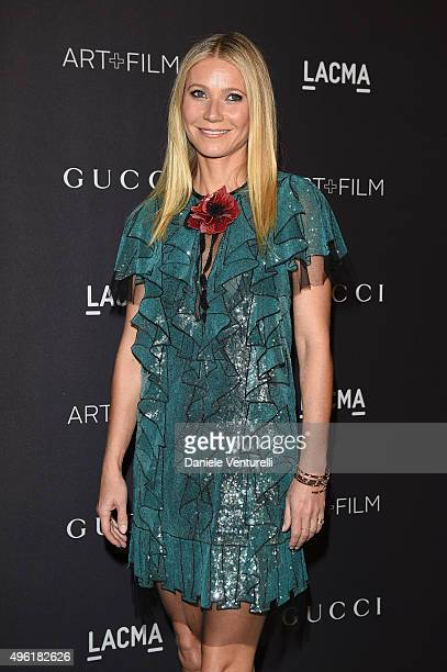 Actress Gwyneth Paltrow wearing Gucci attends LACMA 2015 ArtFilm Gala Honoring James Turrell and Alejandro G Iñárritu Presented by Gucci at LACMA on...