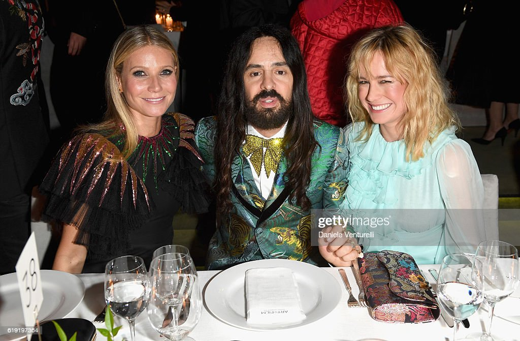 Actress Gwyneth Paltrow, wearing Gucci, Gucci Creative Director Alessandro Michele and actress Brie Larson, wearing Gucci attend the 2016 LACMA Art + Film Gala Honoring Robert Irwin and Kathryn Bigelow Presented By Gucci at LACMA on October 29, 2016 in Los Angeles, California.