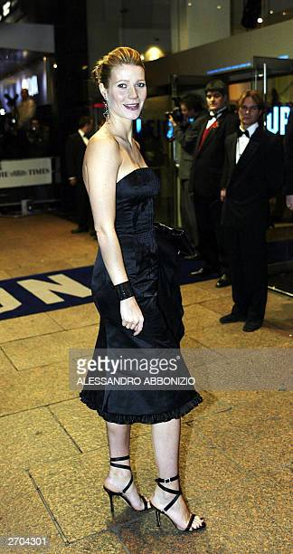 US actress Gwynth Paltrow arrives for the premiere of the film Sylvia at the Odeon Leicester Square London 06 November 2003 The film portrays the...