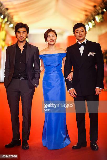 Actress Ha Ji Won and actor Bolin Chen walk the red carpet of the 19th Shanghai International Film Festival at Shanghai Grand Theatre on June 11 2016...