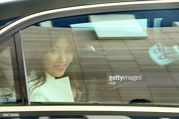 Actress Ha Jiwon arrives at Shanghai Pudong International Airport on April 15 2015 in Shanghai China