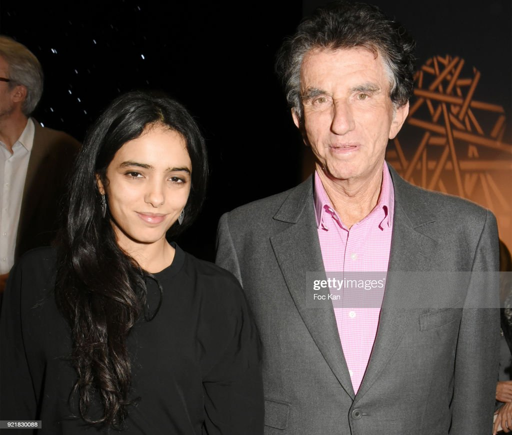 Actress Hafsia Herzi and Jack Lang attend 'L'Amour Des Hommes' : Premiere At Institut du Monde Arabe on February 20, 2018 in Paris, France.