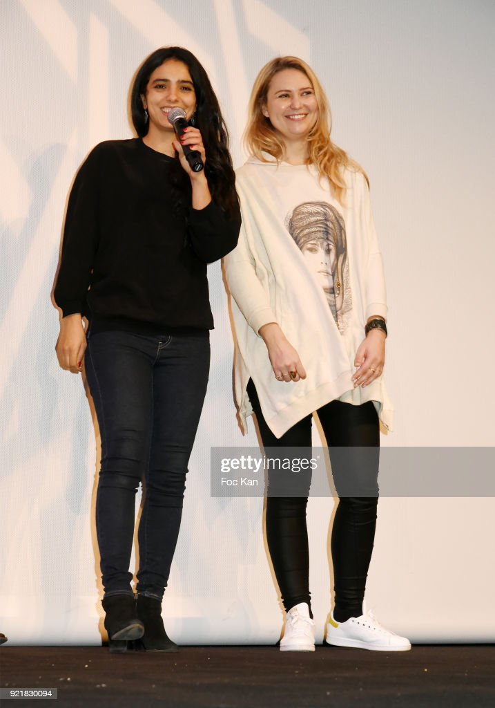 Actress Hafsia Herzi and tunisian singer/actress Nawel Ben Kraiem attend 'L'Amour Des Hommes' : Premiere At Institut du Monde Arabe on February 20, 2018 in Paris, France.