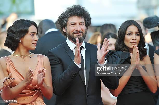 Actress Hafsia Herzi Director Radu Mihaileanu and actress Leila Bekhti attend the La Source Des Femmes Premiere during the 64th Cannes Film Festival...