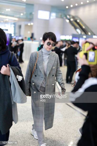 Actress Hai Qing is seen at an airport on November 21 2018 in Shanghai China Actress Hai Qing cancelled her plan of attending the fashion brand Dolce...